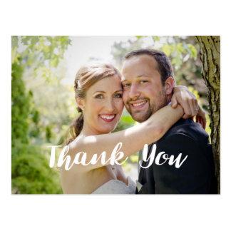 Trendy Wedding Photo Thank You Horizontal Postcard