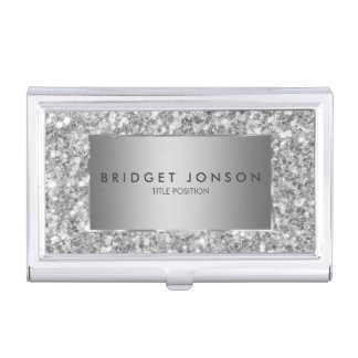 Trendy white And Gray Sparkling Glitter Business Card Holder