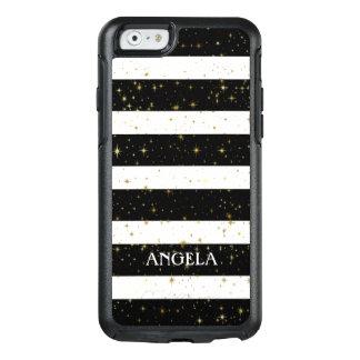 Trendy White Black Stripes Gold Sparks OtterBox iPhone 6/6s Case