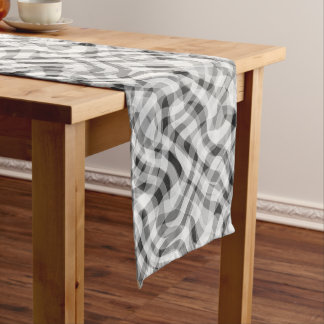 Trendy White Gray Black Retro Wavy Stripes Pattern Medium Table Runner