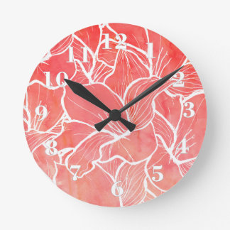 Trendy white handdrawn flowers coral watercolor round clock