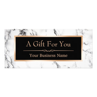 Trendy White Marble Look Gift Certificate Card Custom Rack Card