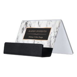 Business card holders zazzle trendy white marble makeup artist hair stylist desk business card holder reheart Choice Image