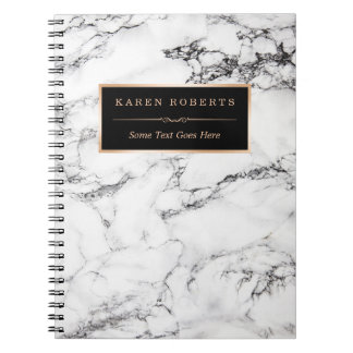 Trendy White Marble Stone Texture Modern Look Notebooks