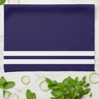 Trendy White Nautical compass on Navy Blue Tea Towel