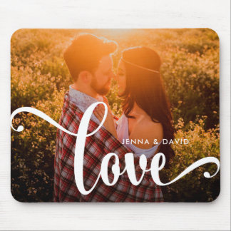 Trendy White Overlay | Love with Photo Mouse Pad
