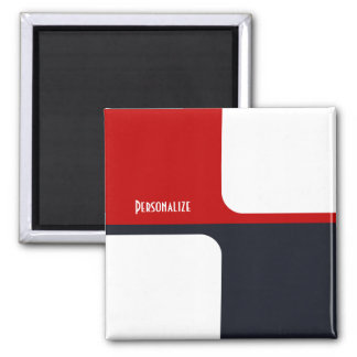Trendy White Red and Navy Graphic Color Blocks Square Magnet