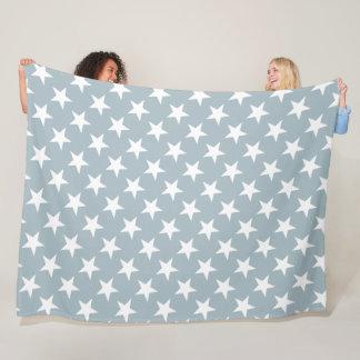 Trendy White Stars Petrol Color Design Blue Green Fleece Blanket