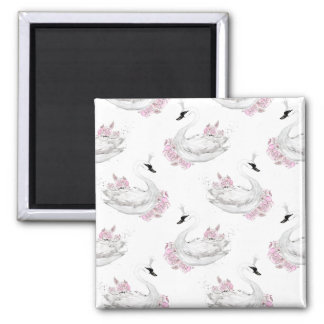 Trendy White Swan with pink Flowers Pattern Square Magnet