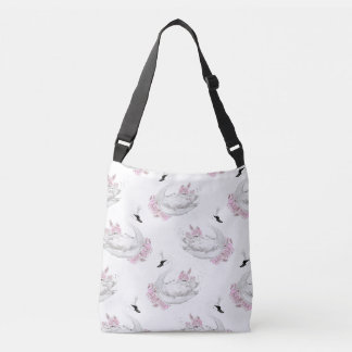 Trendy White Swan with pink Flowers Pattern Tote Bag