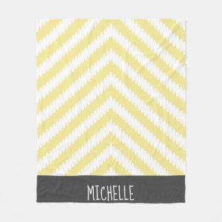 Trendy White & Yellow Arrows Name Fleece Blanket