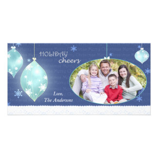 Trendy Winter Blue Merry Christmas Family Photo Photo Greeting Card