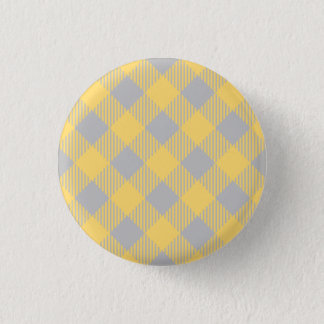 Trendy Yellow and Gray Check Gingham Pattern 3 Cm Round Badge