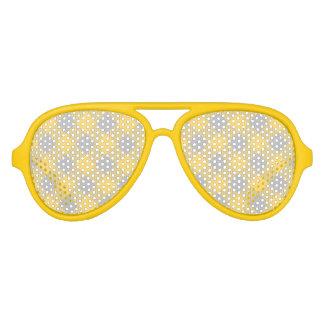 Trendy Yellow and Gray Check Gingham Pattern Aviator Sunglasses