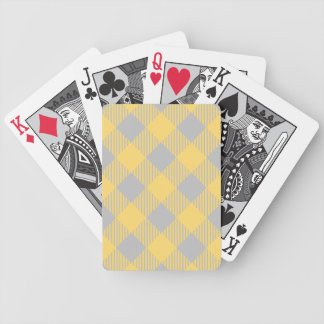 Trendy Yellow and Gray Check Gingham Pattern Bicycle Playing Cards