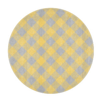 Trendy Yellow and Gray Check Gingham Pattern Cutting Board