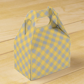 Trendy Yellow and Gray Check Gingham Pattern Favour Box