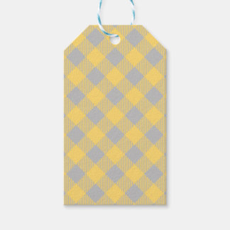 Trendy Yellow and Gray Check Gingham Pattern Gift Tags