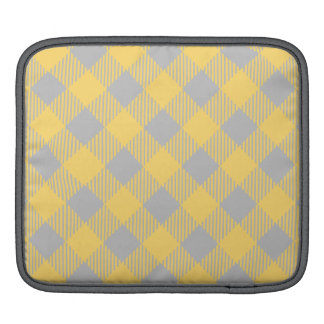 Trendy Yellow and Gray Check Gingham Pattern iPad Sleeve