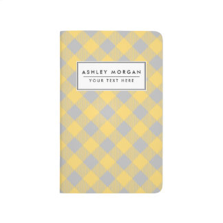 Trendy Yellow and Gray Check Gingham Pattern Journal