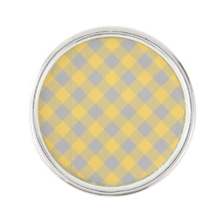 Trendy Yellow and Gray Check Gingham Pattern Lapel Pin