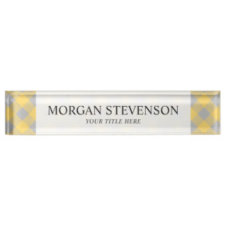 Trendy Yellow and Gray Check Gingham Pattern Nameplate