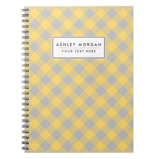 Trendy Yellow and Gray Check Gingham Pattern Notebook