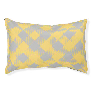 Trendy Yellow and Gray Check Gingham Pattern Pet Bed