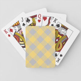 Trendy Yellow and Gray Check Gingham Pattern Playing Cards