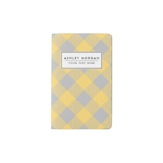 Trendy Yellow and Gray Check Gingham Pattern Pocket Moleskine Notebook