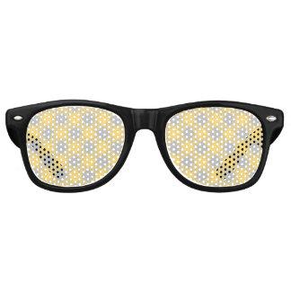 Trendy Yellow and Gray Check Gingham Pattern Retro Sunglasses