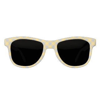 Trendy Yellow and Gray Check Gingham Pattern Sunglasses