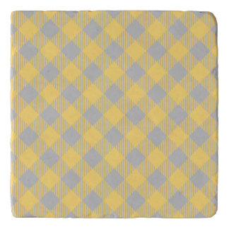 Trendy Yellow and Gray Check Gingham Pattern Trivet