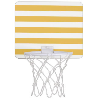 Trendy Yellow and White Wide Horizontal Stripes Mini Basketball Hoop