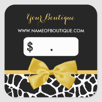 Trendy Yellow Bow Giraffe Print Boutique Price Tag Square Sticker