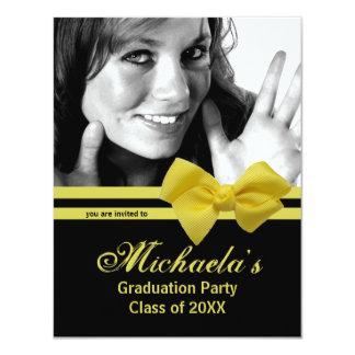"Trendy Yellow Bow Graduation Party Photo Invite 1 4.25"" X 5.5"" Invitation Card"