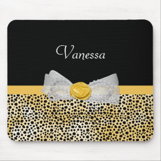 Trendy Yellow Cheetah Print Fancy Bow and Name Mouse Pad