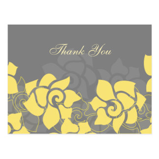 "trendy ""yellow gray"" floral ThankYou Cards Postcard"