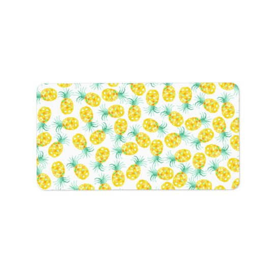 Trendy yellow green watercolor pineapple pattern address label