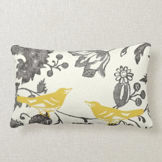 Trendy Yellow Grey Ivory Vintage Floral Bird Lumbar Cushion
