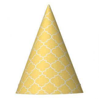 Trendy Yellow Moroccan Quatrefoil Party Hat