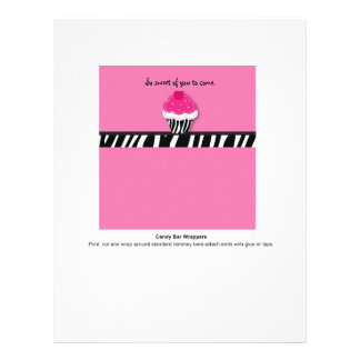 Trendy Zebra Cupcake Candy Bar Wrappers Full Color Flyer