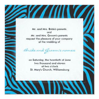 Trendy zebra - Deep sky blue 13 Cm X 13 Cm Square Invitation Card