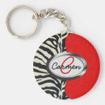 Trendy Zebra Print and Neon Red Monogram Basic Round Button Key Ring