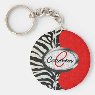 Trendy Zebra Print and Neon Red Monogram Key Ring