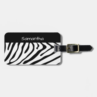 Trendy Zebra Print Black and White Luggage Tag