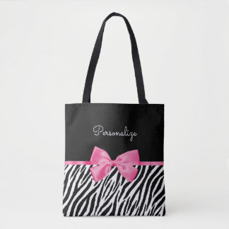 Trendy Zebra Print Chic Hot Pink Bow and Name Tote Bag