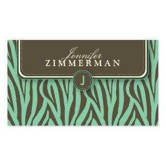 Trendy Zebra Print Designer Business Card :: Aqua