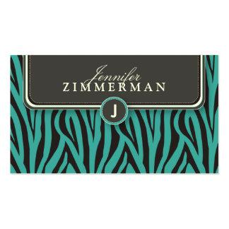 Trendy Zebra Print Designer Business Card: Aqua