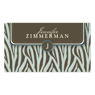 Trendy Zebra Print Designer Business Card :: Blue